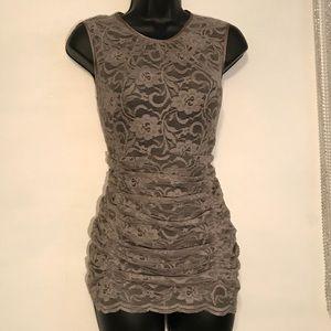 Sz L Dialogue Black & Gray Lace Top